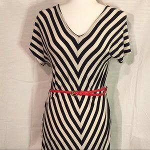 Merona Chevron Stripe Dress w/ Red Belt